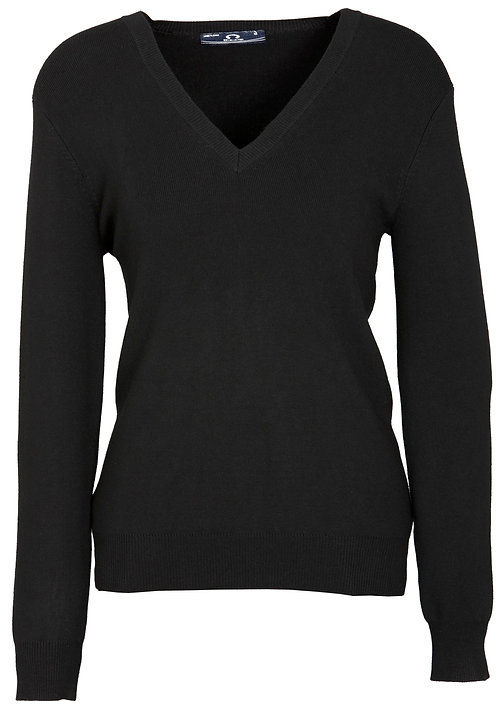 Womens V-Neck Pullover - Black