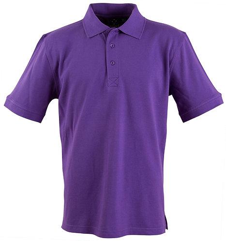 Men's 100% Cotton Pique Knit Short Sleeve Polo - Purple