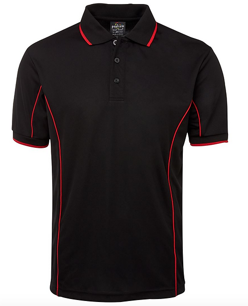 PODIUM S/S PIPING POLO - BLACK / RED