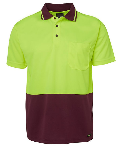 Hi-Vis Non Cuff Traditional Polo - Lime/Maroon