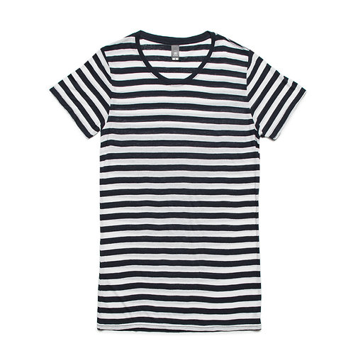 AS Colour Womens Basic Stripe Tee White/Navy - Available from