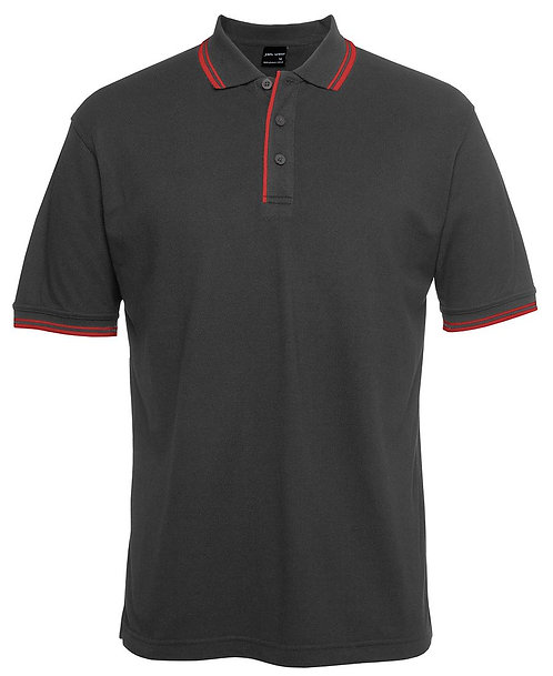 Mens Contrast Polo - Charcoal / Red