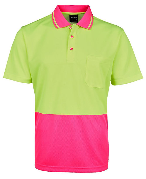 Hi-Vis Non Cuff Traditional Polo - Lime/Pink