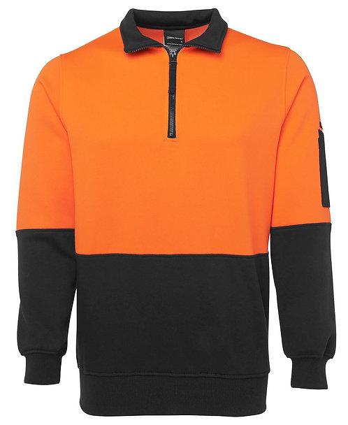 Hi Vis 1/2 Zip Fleecy Sweat - Orange/Black