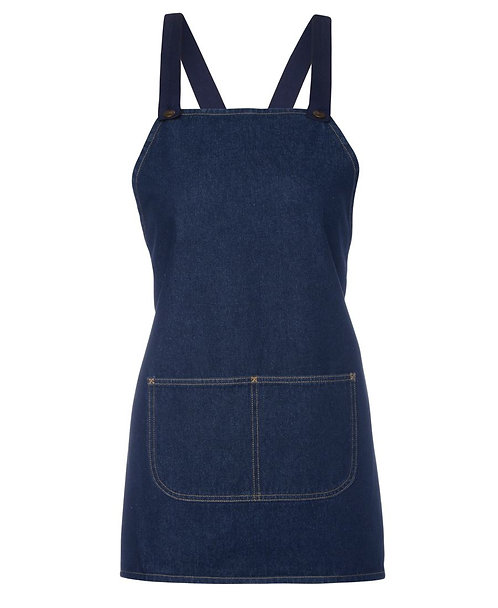 Blue Denim Cross Back Apron With Changeable Straps