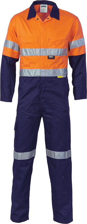 HiVis Cool-Breeze L.Weight Cotton Coverall with 3M R/Tape - Orange / Navy