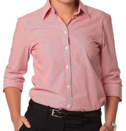Women's Balance Stripe 3/4 Sleeve Shirt -  Red/White MOQ 6