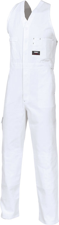 Cotton Drill Action Back Overall - White