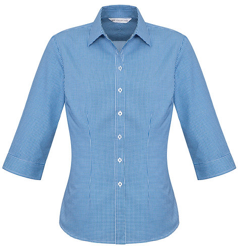 Womens Small Check 3/4 Shirt - French Blue