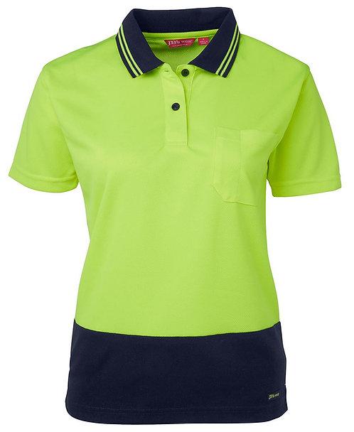 Womens Hi Vis S/S Comfort Polo - Lime/Navy