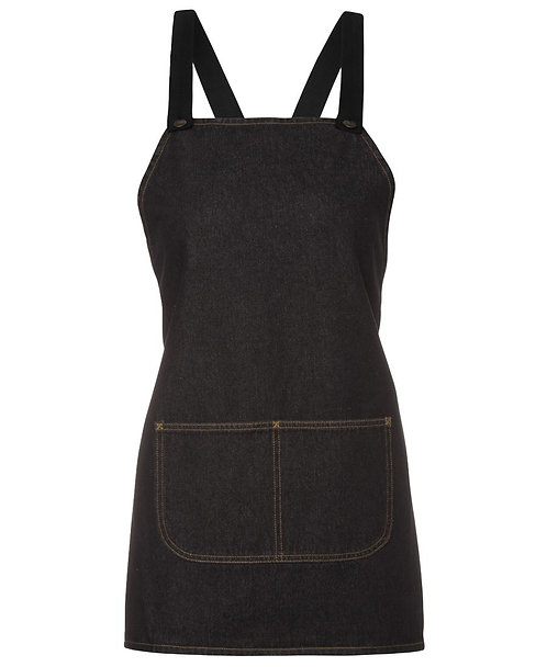 Black Denim Cross Back Apron With Changeable Straps