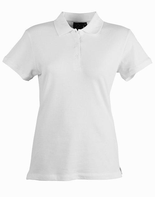 Womens Harbour Polo 95% Cotton Pique SS Polo - White