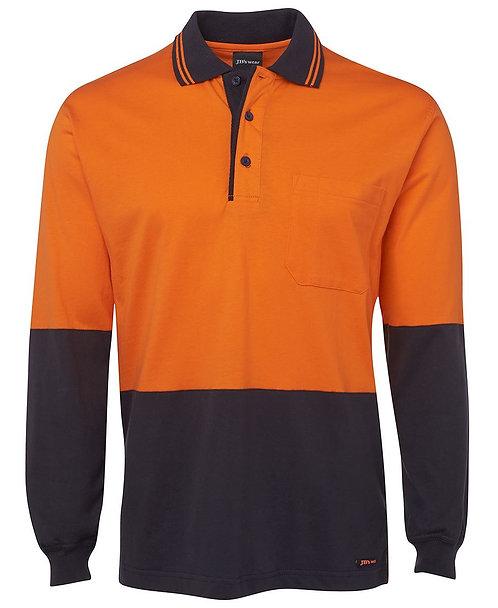 Hi Vis L/S Cotton Polo - Orange/Navy