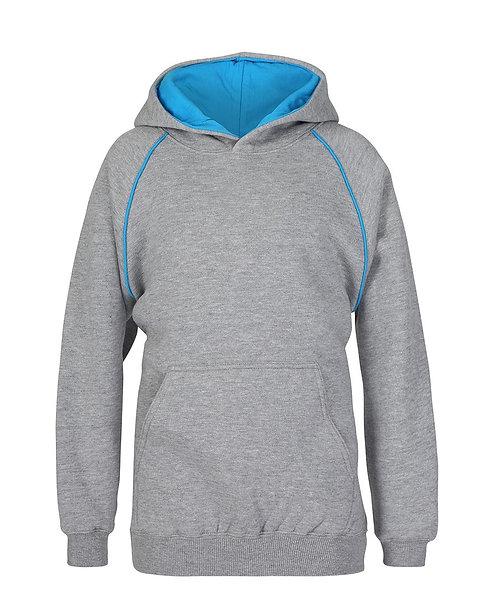 Contrast Fleece Hoodie - Grey/Aqua