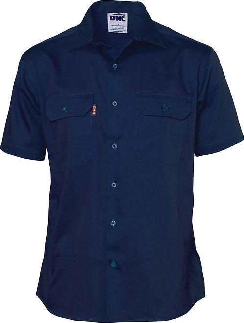 190g Cotton Drill Work Shirt Short Sleeve - Navy