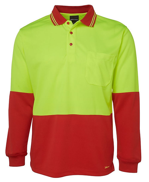Hi-Vis L/S Polo - Lime/Red