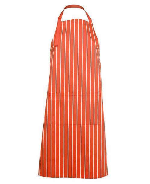 Bib Striped Apron - Orange / White