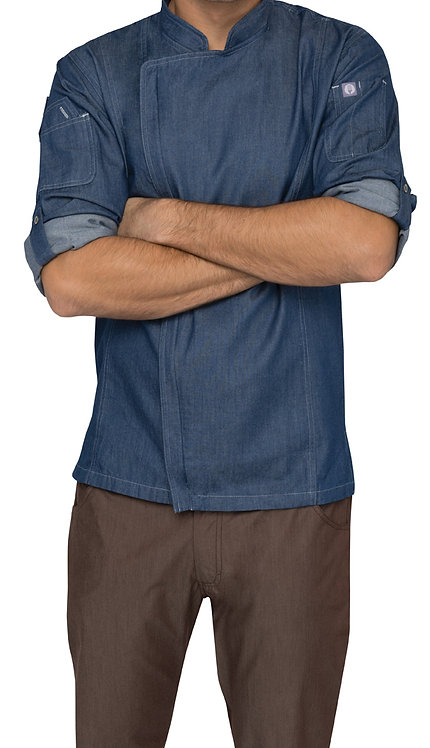 Gramercy Men's Denim Zipper Chef Jacket - Indigo Blue