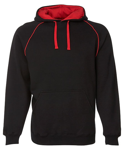 Contrast Fleece Hoodie - Black/Red