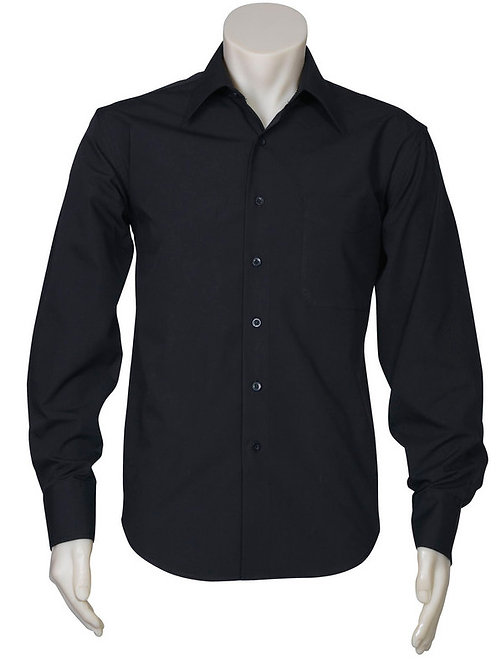 Mens Metro Long Sleeve Shirt- Black