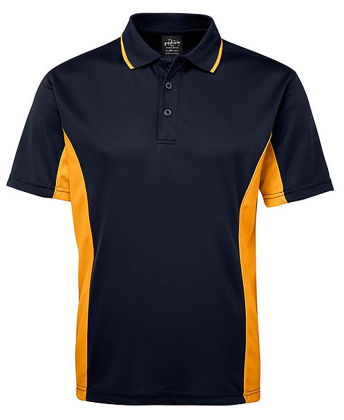 Mens Contrast Polo - Navy/Gold