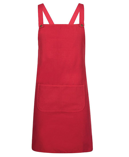 Red Canvas Cross Back Apron with Changeable Straps