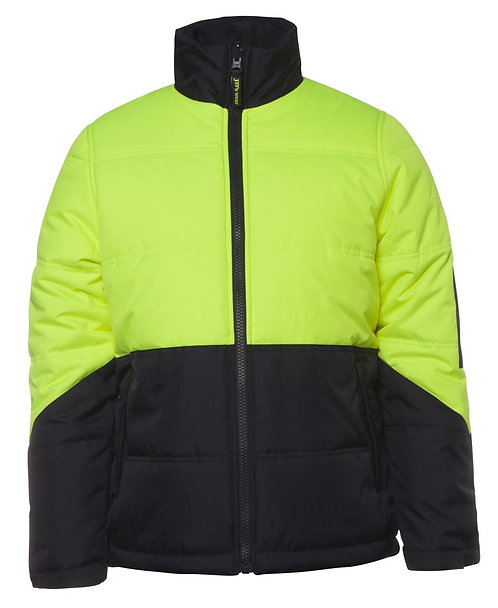 Hi-Vis Puffer Jacket - Lime/Navy