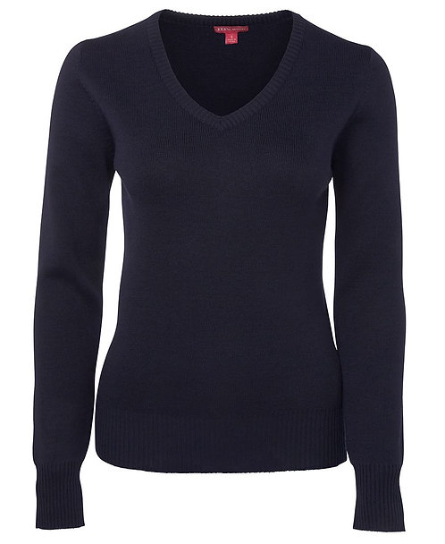 Ladies Urban Fit V Neck Jumper - Navy