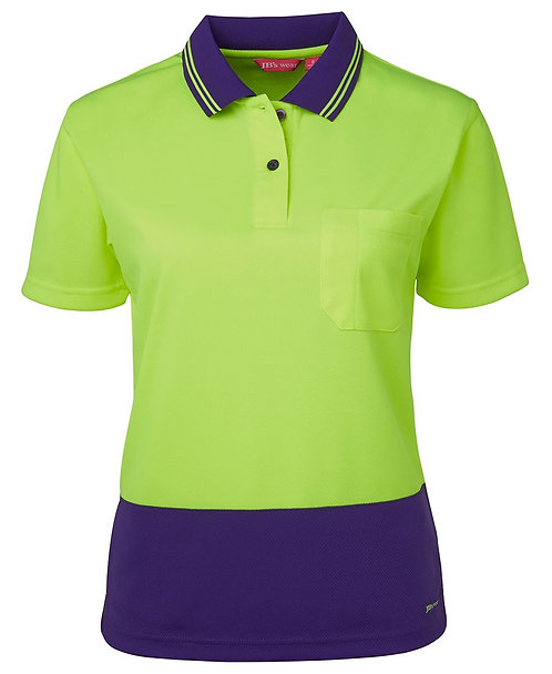 Womens Hi Vis S/S Comfort Polo - Lime/Purple