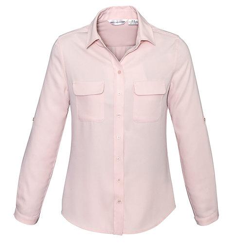 Ladies Madison Long Sleeve Shirt - Blush Pink