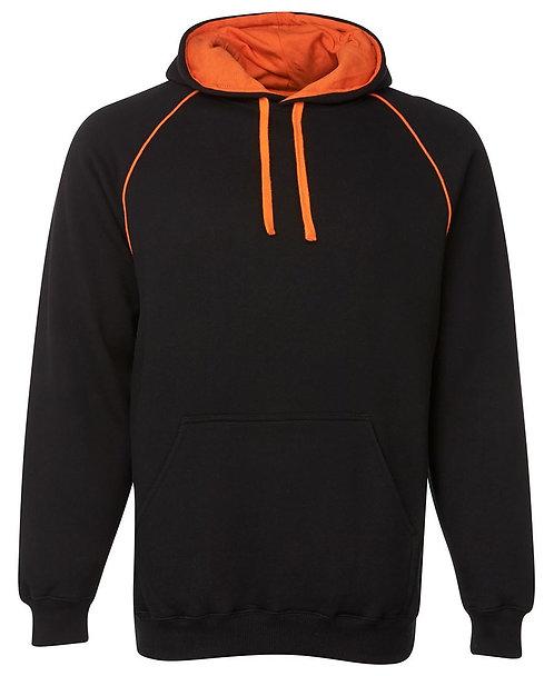 Contrast Fleece Hoodie - Black/Orange