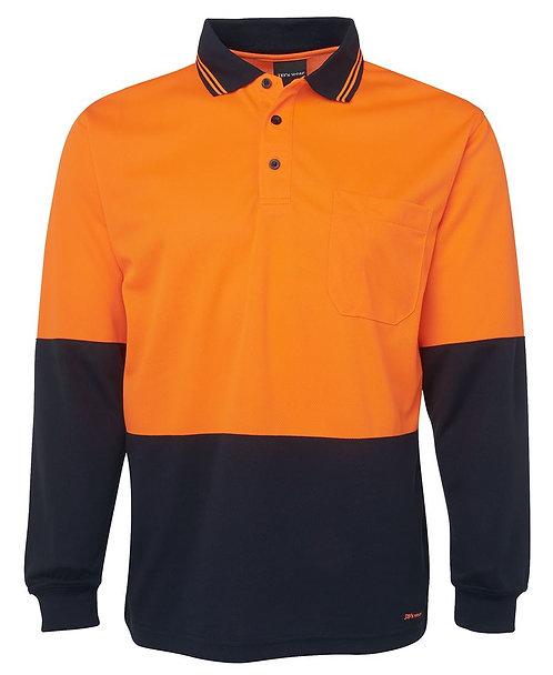 JB's Wear Hi-Vis L/S Polo - Orange/Navy