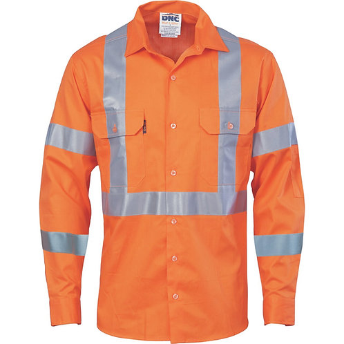Hi-Vis Cool-Breeze 190gsm Cotton  With double hoop on arms & 'X' back CSR R/tape