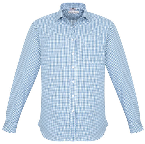 Mens Small Check LS Shirt - Blue