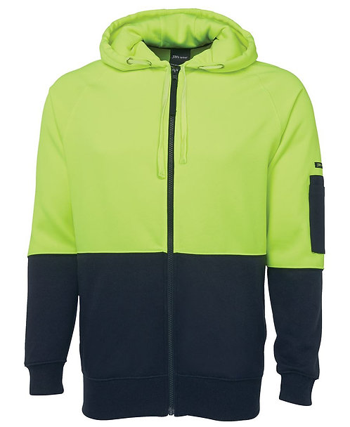 Hi Vis Full Zip Fleecy Hoodie - Lime/Navy