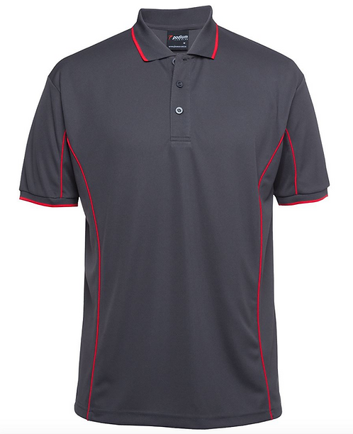 PODIUM S/S PIPING POLO - CHARCOAL / RED