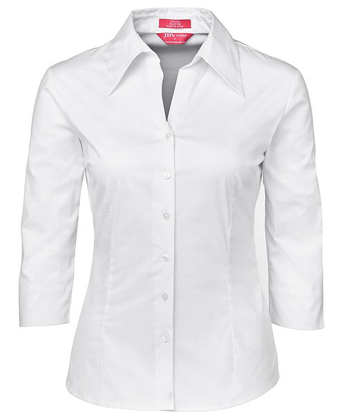 Womens Cotton Rich Fitted 3/4 Shirt - White