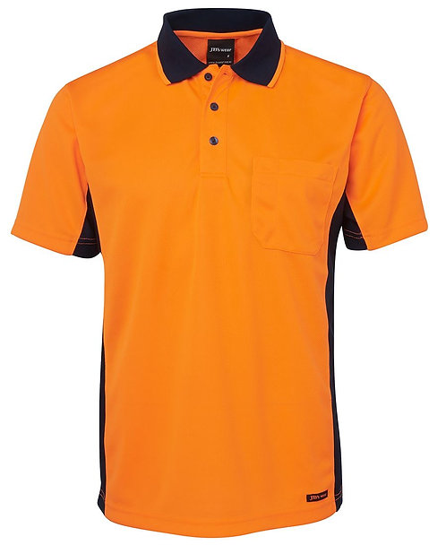 Hi Vis S/S Sport Polo - Orange/Navy