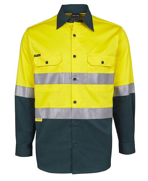 Hi Vis L/S (D+N) 150G Work Shirt - Yellow/Green