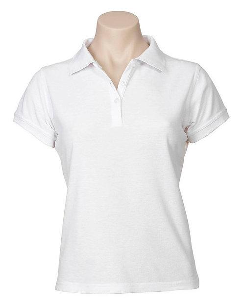 Womens Neon Premium Pique Polo - White
