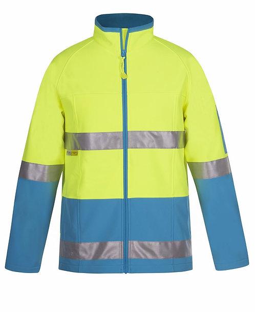 Hi Vis (D+N) Softshell Jacket - Lime/Aqua
