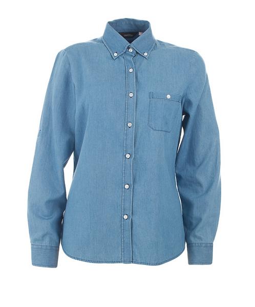 Ladies Dylan Long Sleeve Denim Shirt - Vintage Blue