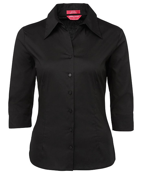 Womens Cotton Rich Fitted 3/4 Shirt - Black