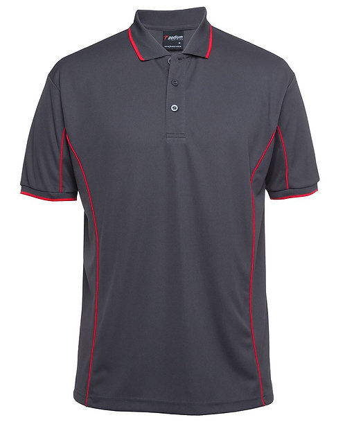 Mens S/S Piping Polo - Grey/Red
