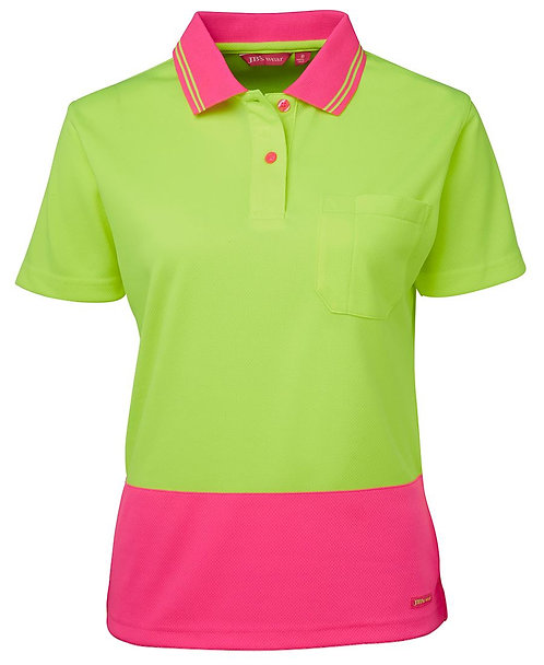 Womens Hi Vis S/S Comfort Polo - Lime/Pink