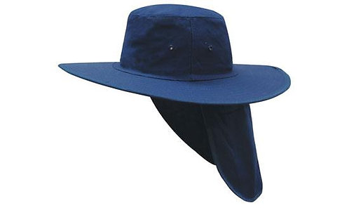 Canvas Wide Brim Hat with Back Protection - Navy MOQ 10