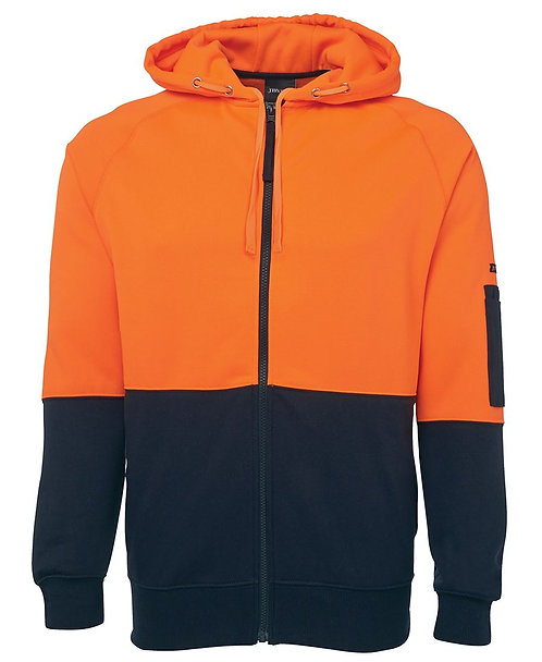 Hi Vis Full Zip Fleecy Hoodie - Orange/Navy