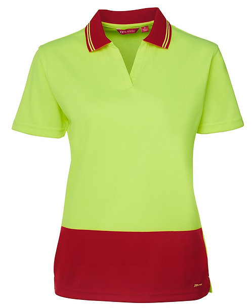 Womens Hi-Vis Ladies S/S Non Button Polo Shirt - Lime/Red