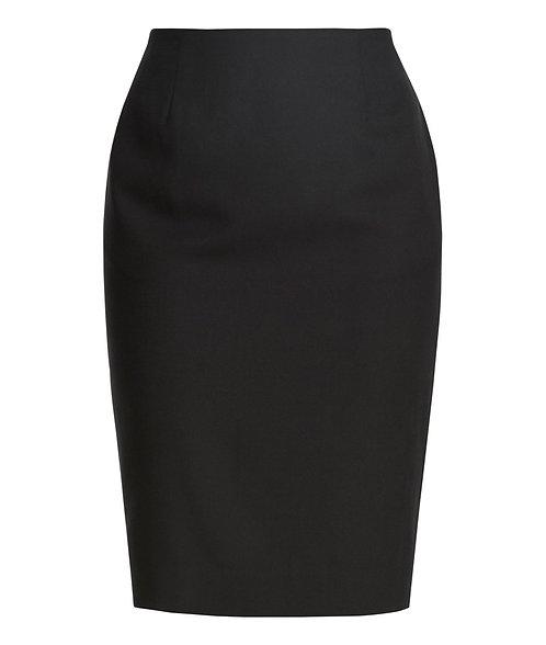 Wool Blend Panel Pencil Skirt - Black