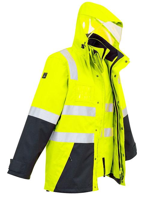 Mens Hi Vis 4 in 1 Waterproof Jacket - Lime/Navy